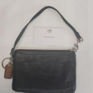 Coach black pebbled leather wristlet